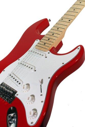 Rockburn - Chitarra elettrica Stratocaster, colore: Rosso