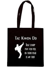 T-Shirtshock - Bolsa para la compra TAM0175 taekwondo sharp pain dark tshirt