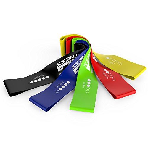Fitnessbänder Set 5-Stärken mit Tasche - Widerstandsbänder für Gymnastik Pilates Yoga Crossfit Physiotherapie und Muskelaufbau Theraband Set