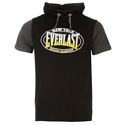 everlast-mock-layer-herren-t-shirt-kurzarm-leicht-kapuzen-tee-top-freizeit-schwarz-medium
