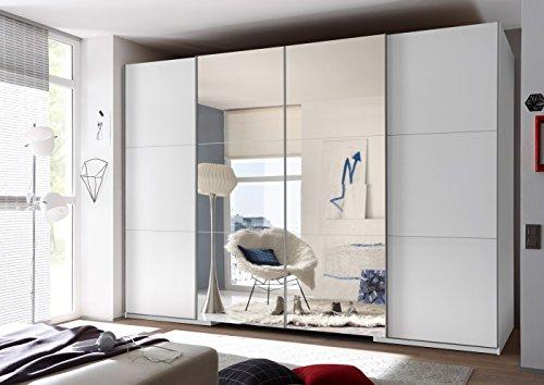 Schwebetürenschrank 'BIG' begehbarer Kleiderschrank Schrank Schlafzimmerschrank 315 x 225 cm Weiß mit Spiegel mit Beleuchtung und Dämpfung