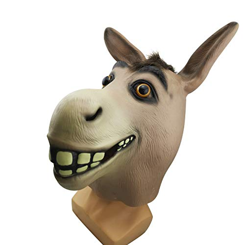 WYJSS Shrek Schlechter Mund Esel Maske Maskerade Requisiten Esel Tier Maske Halloween Horror Latex Neuheit Schöne Phantasie Lustige Anzieh Requisiten,Brown-OneSize