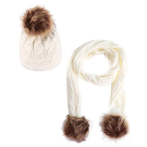 (KILTYEN Kid's Daily Freizeit Warme Strick Schal Und Hut Zwei Stücke Loading Winter Warm Baotou Mütze Warme Mütze Frauen,White)