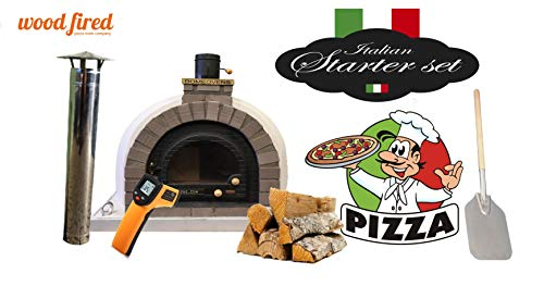 Grey Tudor Wood Fired Pizza Oven Double Insulation Starter Kit, Cast Iron Door, without gas burner, 140cm x 140cm