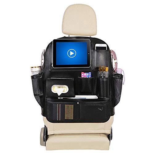 VictoryMeet Auto Rückenlehnenschutz Auto Organizer für Baby für Kinder Multifunktionen Rückenlehnen-Tasche + Tablet iPad Fach und Kick-Matten-Schutz für Auto (Kohlefaser)