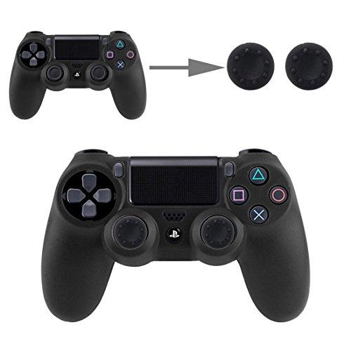 Controller Aufsätze Thumbsticks Analog Stick Kappen Silikon Schutzkappen Control Sticks für DualShock Gamepad Sony Playstation PS4 Pro, PS4, PS3, PS2, Xbox One X, Xbox 360, Nintendo Switch in Schwarz