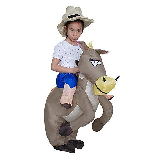 AUED Disfraz Inflable de Poni para niños de Halloween Traje Inflable de Poni de Jinete de Vaquero Accesorios inflables Divertidos Decoración de Disfraces Decoración de Disfraces Fiesta Cosplay