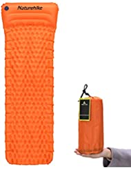 Hikenture® Ultraleichte Aufblasbare Isomatte mit Kopfkissen, Schlafsack Partner, Sleeping Pad für Camping, Reise, Outdoor, Wandern, Strand (Blau Violett Orange)