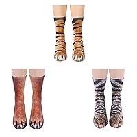 3 أزواج من الجوارب الحيوانية، الأطفال جوارب الحيوانات ثلاثية الأبعاد مضحك القط النمر الكلب الجدة الحيوان باو طاقم الجوارب