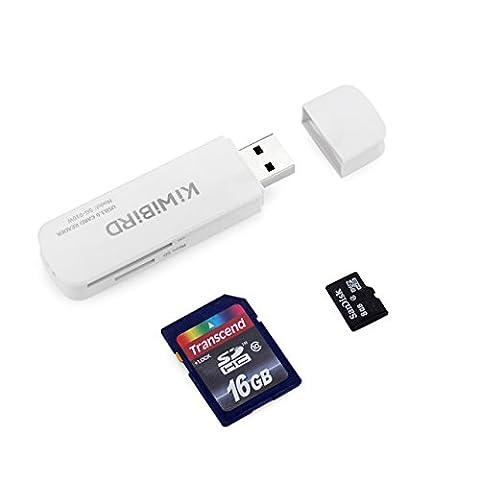 [Nouvelle mise en vente] KiWiBiRD USB 3.0 (3.1 Gen 1) Super-Speed Lecteur de cartes 8-en-1 pour cartes SDXC, SD, MMC, RS-MMC, SDHC, Micro SD, Micro SDXC, Micro SDHC [Compatible avec cartes UHS-I] -