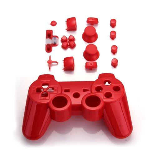 SODIAL(R) Set Gehaeuse Case Huelle + Tasten Knoepfe Button + Werkzeuge fuer PS3 Controller Rot