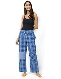 Mystere Paris Checked Patch Cotton Pajama Sleepwear Nightwear Loungewear  Casual Women Ladies Blue White G326B 8bb324d96