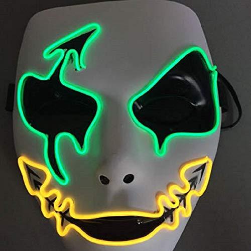 Dunkler Kostüm Pfeil - Ya2&Ya Halloween Maske, Halloween Pfeil Horror Glühende Maske Persönlichkeit Glühende Maske Prom Dressing Maske EL Kaltlicht Maske Bericht