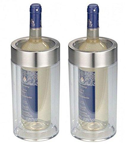 2er SET - Transparenter Flaschenkühler im eleganten Design - Doppelwandig, bruchsicher, elegant - Kunststoff Flaschen Kühler mit breitem Edelstahl - Höhe ca. 23cm, Durchmesser ca. 11,5 cm (2x Transparent)