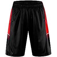 1Bests hombres corriendo baloncesto deportes pantalones cortos Thin respirables Fitness suelto entrenamiento corto con bolsillo (Black, L)