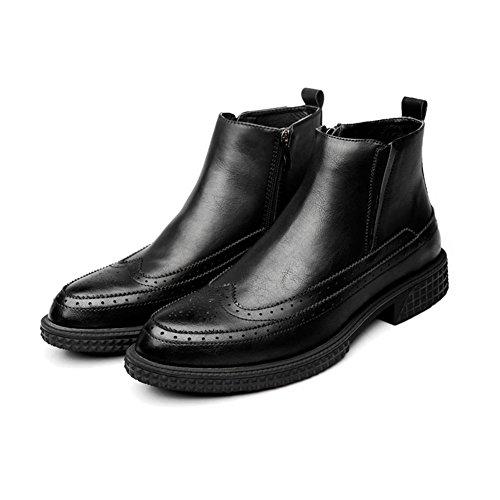 WYWQ Tacco medio Chelsea Martin Stivali Autunno e inverno Nuovo Bullock Intagliato Stivali da uomo Retro Short Boots Cerniera laterale black