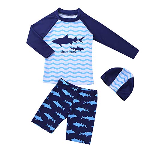 YOOJIA Kinder Bademode Jungen Zweiteiler Badeanzug und Badekappe Set Kurze Badehose Shark Muster Bade Top Bottom Rash Guards UV Schutzkleidung 92-152 Blau 92-98/2-3 Jahre Shark Short Set
