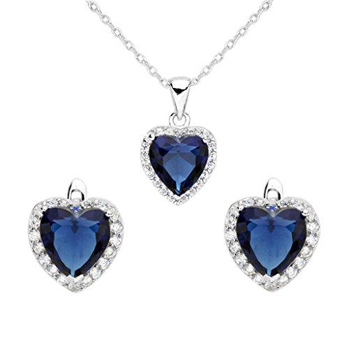EVER FAITH® - 925 Plata Esterlina CZ Corazón Del Oceano Collar Pendientes Conjunto Color Zafiro N07930-1