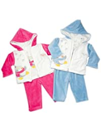 Gorgeous Three Piece Set comprising Long Sleeved Tee Shirt and Velour Jacket Both With Applique Penguin Motif And Velour Trousers - Pink/White Age 6 Mths