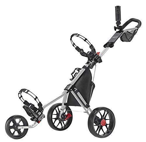 CaddyTek 11.5 V3 3-Rad Push Golftrolley Golfcaddy Golfwagen Silber