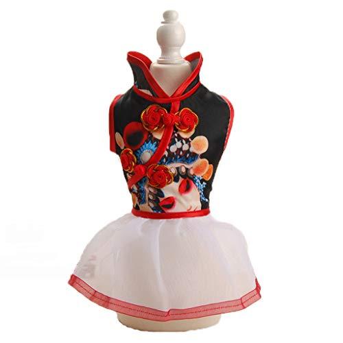 QLMS Chinesischen Stil Haustier Kleidung Frühling und Sommer Stickerei Peking Oper Maske Cheongsam Rock Thai kleinen und mittleren Hund Teddy Hund Tang Anzug (Color : White, Size : XXL)