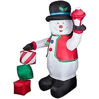 CCLIFE Pupazzo di neve gonfiabile carina comico, Con Illuminazione a LED e Kit Fissaggio, Addobbo e Decorazione Natalizia, Colore:Bianco007-180cm