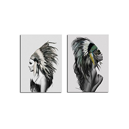 (Amphia - Eine rahmenlose Leinwandmalerei.Nordisches Stamm-Mädchen Segeltuch Kunst-Plakat-Drucke Bild-Malerei-Hauptwand-Dekoration)