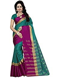 FAB BRAND Self Design Cotton Silk Rama Color Saree For Women With Blouse Piece