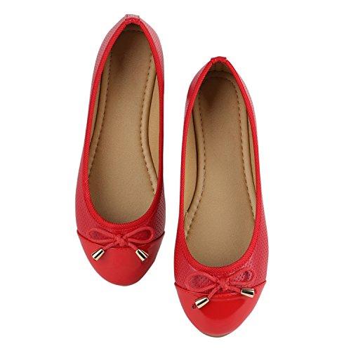 Klassische Übergrößen Damen Ballerinas Lederoptik Freizeit Flats Schuhe Rot Rot