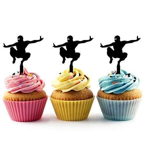 Innovedesire American Ninja Jump Kuchenaufsätze Hochzeit Geburtsta Acryl Dekor Cupcake Kuchen Topper Stand für Kuchen Party Dekoration 10 Stück