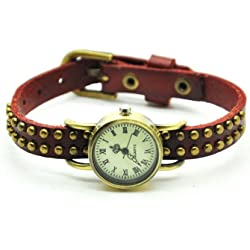 Jirong Fashion Style simple leather wrist watch,leather wrist watch Red Rivets leather wrist watch 2177W