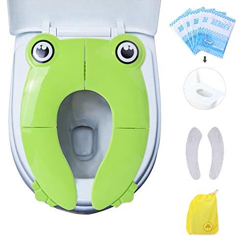 Riduttore wc per bambino portatile riduttore sedile wc pieghevole, evilto riutilizzabili sedile potty training con caldo cuscino del sedile del wc per l'inverno e usa e getta 5 pezzi - rana verde