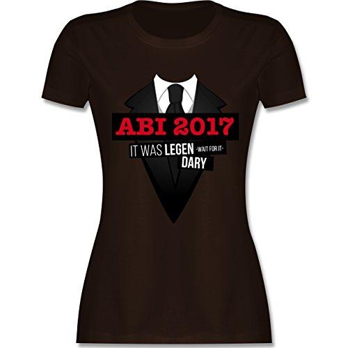 Abi & Abschluss - Abi 2017 - It was legen -wait for it- dary - tailliertes Premium T-Shirt mit Rundhalsausschnitt für Damen Braun