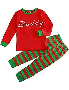 Hzjundasi Conjunto Pijamas Familia Navidad - Otoño Invierno Navidad Letras Impreso Ropa Familia Pijama Traje,Rojo...