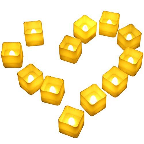 AMIR LED Kerzen, 12er Teelichter mit Timer, Flammenlose Kerzen, Kerzen LED Flackerndn mit Timerfunktion für Weihnachten, Hochzeit, Geburtstags, Party, Heimtextilien, Kirche usw ( Warmes Weiß )