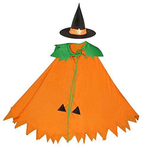 Sharplace mantello arancione zucca con cappello costume di halloween cosplay strega gioco di ruolo - bambino