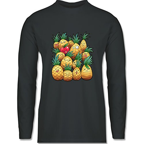 Shirtracer Comic Shirts - Süße Ananas Party - Herren Langarmshirt Dunkelgrau