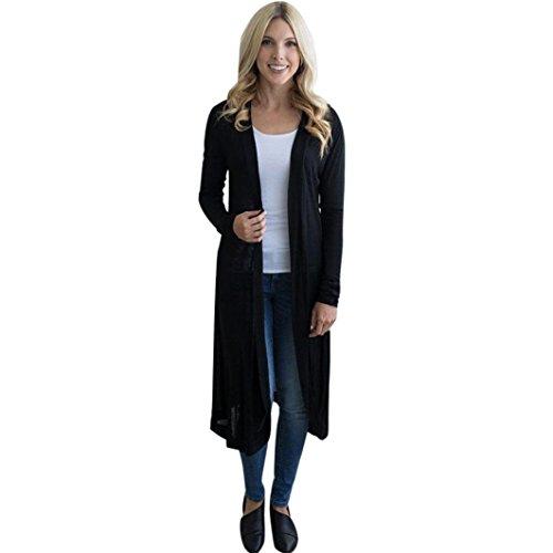FORH Beliebt Damen Solide Farbe Lang Maxi Geöffnet Ärmellos Top Jacke Kragen Ebene Strickjacke - 3 Farben - Größe S/M/L/XL (S, Schwarz )