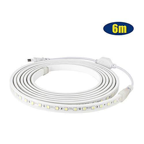LED Streifen IP65 5050 LED Band 230V 60 LEDs/M 6M Kaltweiß für von Haus, Küche, Garten
