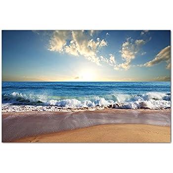 Strand mit meer bild auf leinwand 120 x 80 cm fertig gerahmte kunstdruckbilder als - Leinwand amazon ...