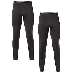 LAPASA Lot de 1 ou 2 Pantalon Thermique Homme Doublure Laine Polaire - Bas Caleçon Long sous-Vêtement LÉGER ET Chaud M10/M56 - M10: Lot de 2 Noir (Léger) - L