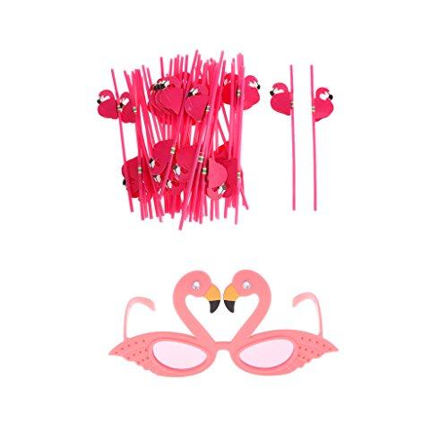 MagiDeal 25x Flamingo Trinkhalme Strohhalme Halme + Flamingo Spaßbrillen Set