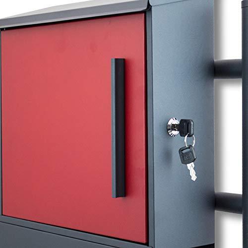 BITUXX® Freistehender Standbriefkasten Briefkastenanlage Seitenschloss und Zeitungsfach unten Dunkelgrau/Rot - 5