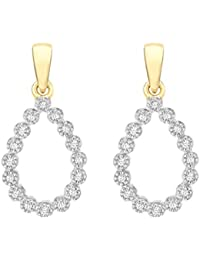 Pave Prive Women's 9ct Yellow Gold Round White Diamonds Open Teardrop Dangle Earrings