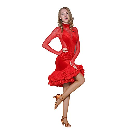 Q-JIU Latin Dance Rock Pure Velvet Set High Kragen Haken Finger Netz Ärmel Perspektive Halfter Spitze Rock Pendel Kostüm,Red,XXL (Bauchtanz-bh Machen)