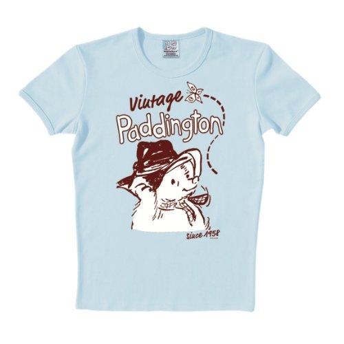 Camiseta El Oso Paddington - Vintage - Paddington Baer - Vintage - Camiseta con cuello redondo de LOGOSHIRT - Azul Claro - Diseño original con licencia, talla XXL