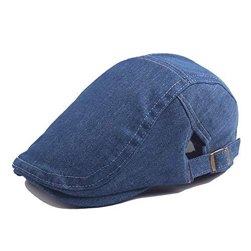 Reisekappe Beret Cap Wool Damen Washed Denim Herren Sonnenhut Hut (Farbe : Denim Blue, Größe : 56-58CM) Plaid Wool Cap
