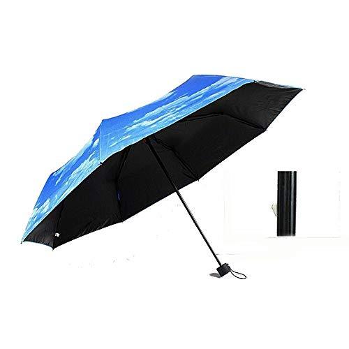 Money dock Creativo Paraguas Plegable para el Cielo Cielo Azul y Nubes Blancas en plástico Negro Protector Solar súper sombrilla Solar (Color : 02)