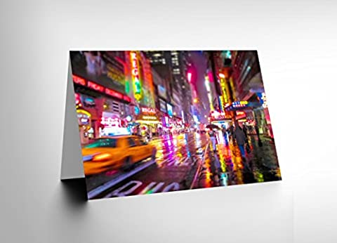 NEW YORK NEON CITY LIGHTS PHOTO BLANK GREETINGS BIRTHDAY CARD ART CL357