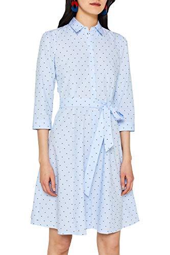 edc by ESPRIT Hemdblusen-Kleid mit Punkten, 100% Baumwolle